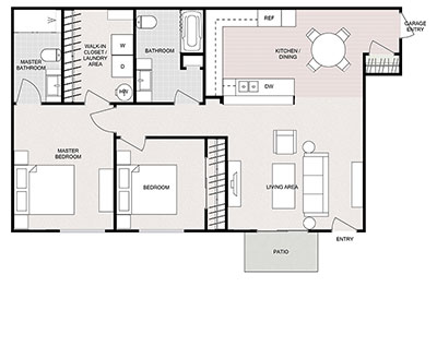 2 bed, 2 bath floor plan